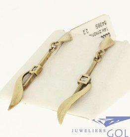 vintage 14k sierlijke oorstekers met zirconia