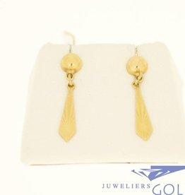 vintage 18k gouden oorhangers met geslepen pegels