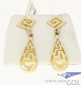 vintage 14k gouden oorstekers in griekse stijl