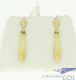 vintage 14k gouden oorhangers met geslepen pegels
