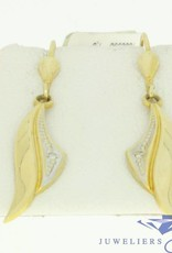 vintage 14k gold earrings with 2 zirconia