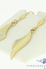vintage 14k gouden oorhangers met 2 zirconia's