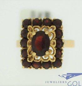 vintage 18k gouden ring met 15 granaten