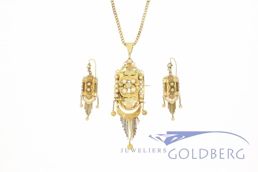 18k gouden Demi-Parure 1870-1890 Belgisch