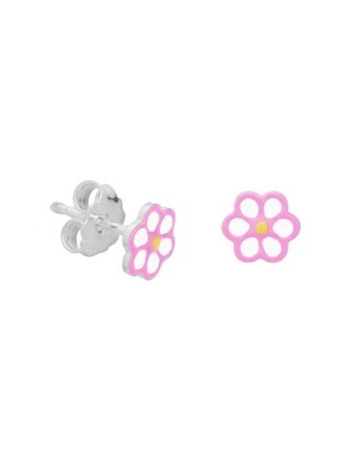 zilveren bloem oorstekers met roze & wit emaille