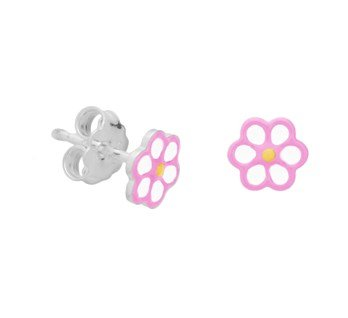 silver flower ear studs with pink/white enamel