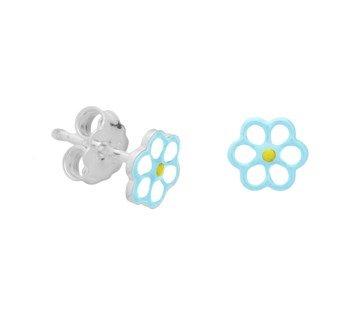 silver flower ear studs with blue/white enamel