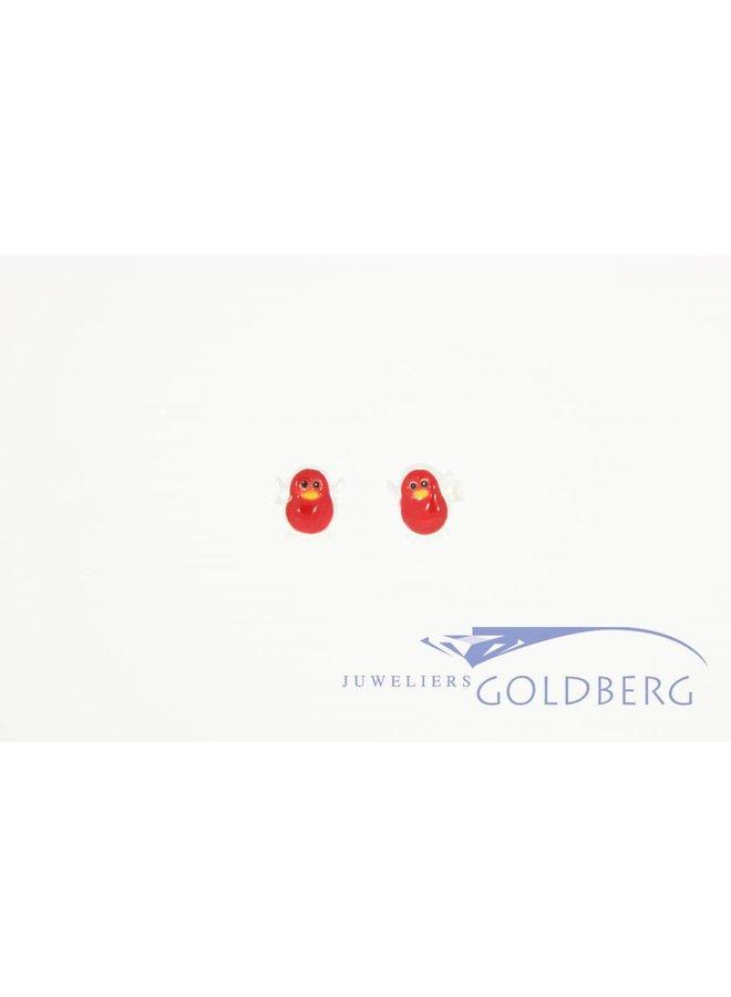 Silver penguin earstuds red enamel