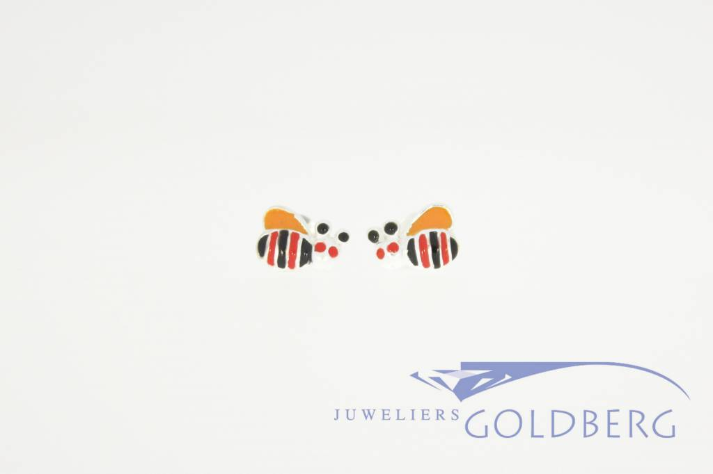 Bee shaped silver ear studs, colored