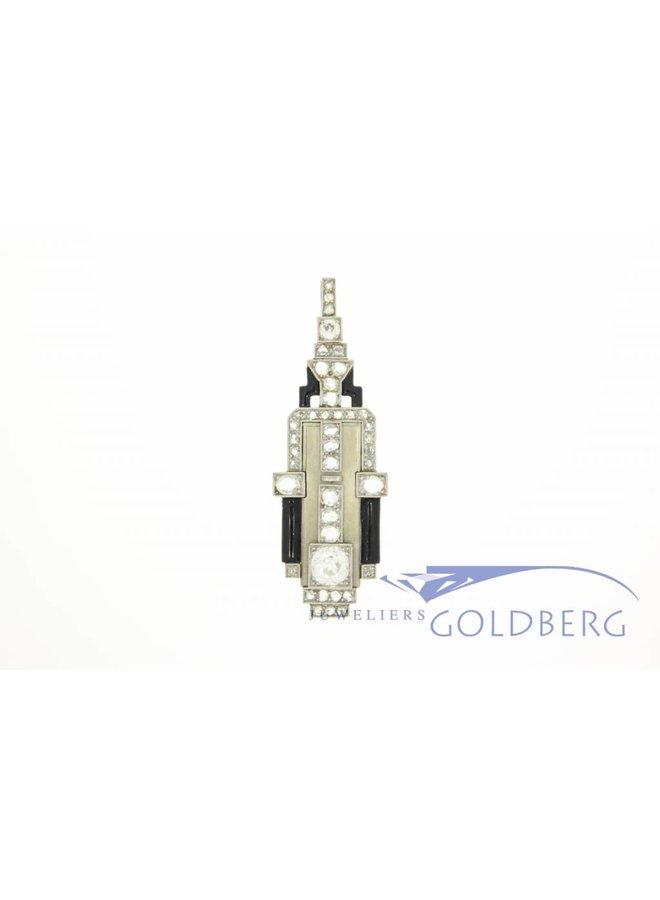 Antieke witgouden Art Deco hanger met diamant