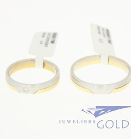14k bicolor gold wedding band set Desiree 0.03ct diamond