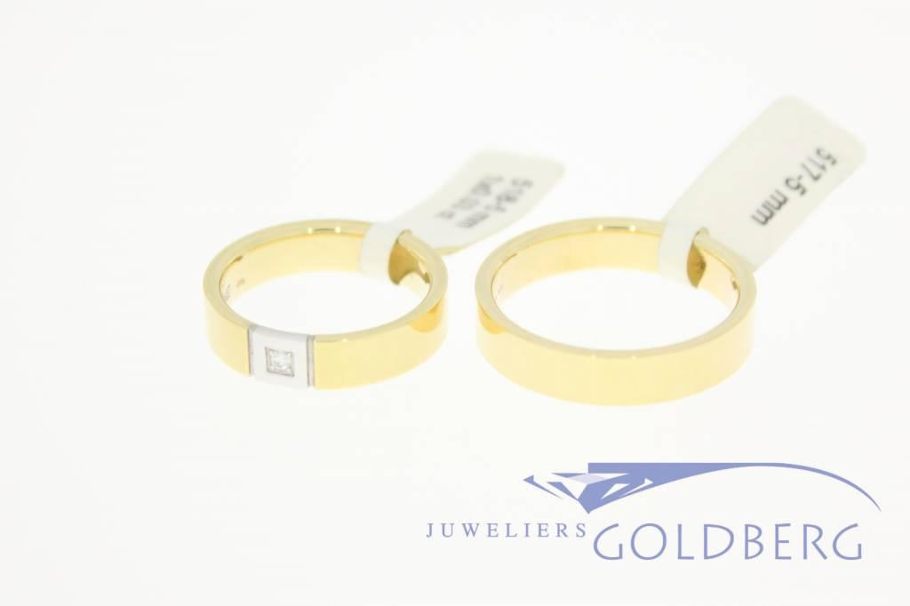 14k gold wedding band set Desiree 0.03ct diamond