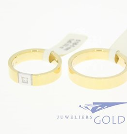 Desiree gouden Trouwringen set 14k geelgoud & bicolor 0.03ct