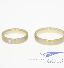14k bicolor gold wedding band set Desiree 0.07ct princess cut diamond