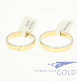 14k bicolor gold wedding band set Desiree 0.02ct diamond