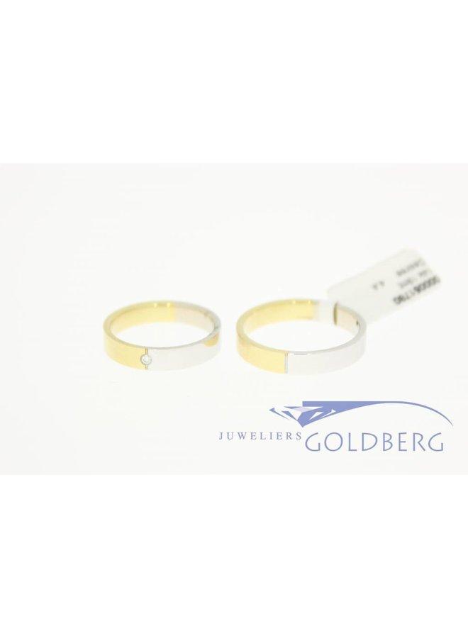 Desiree gouden Trouwringen set 14k bicolor 0.02ct