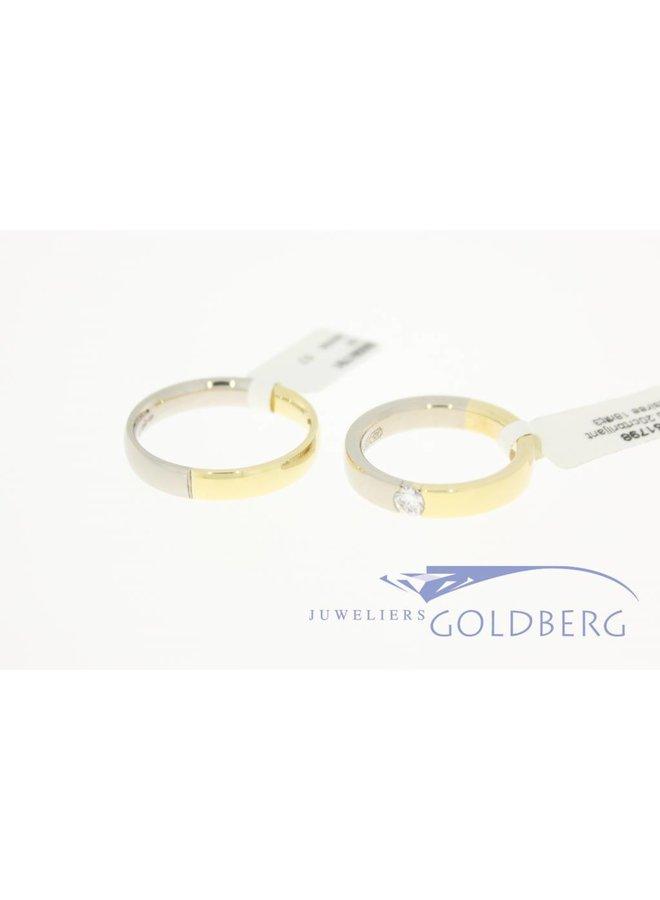 14k bicolor gold wedding band set Desiree 0.20ct diamond