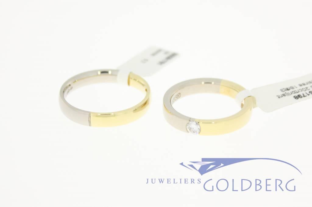 Desiree gouden Trouwringen set 14k bicolor 0.20ct
