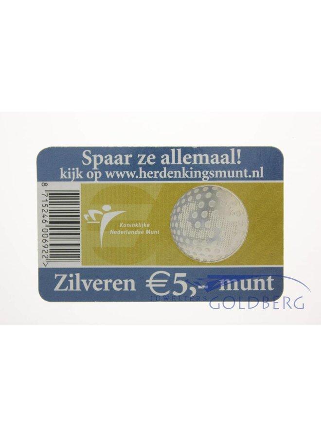 Silver Dutch 5 Euro coin 2005