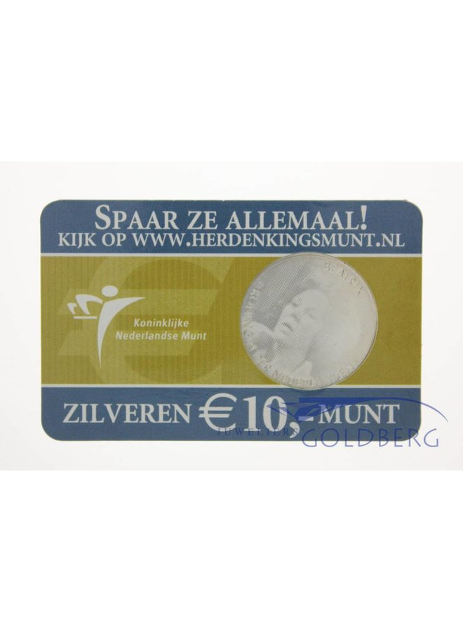 Silver Dutch 10 Euro coin 2005