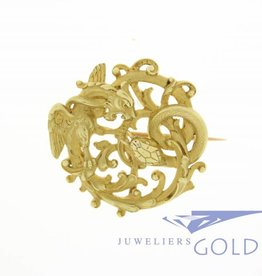 French art nouveau gold chimerical brooch