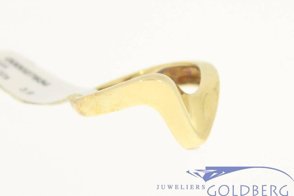 Bijzonder gevormde vintage 14k gouden ring