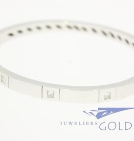 heavy 18 carat white gold bangle princess cut diamonds