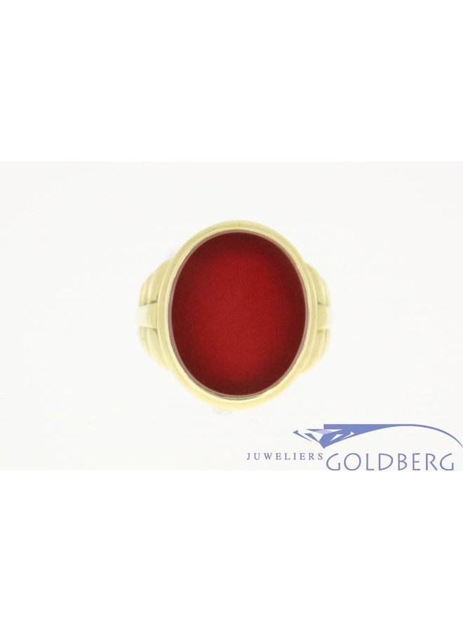 vintage ring 14k yellow gold with carnelian