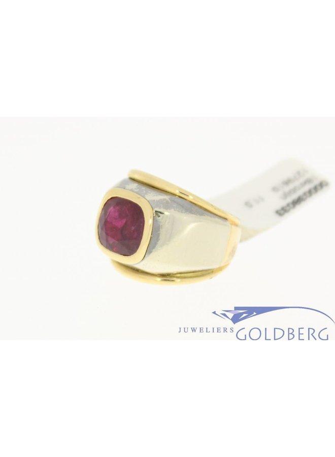 vintage 18k gouden ring met robijn