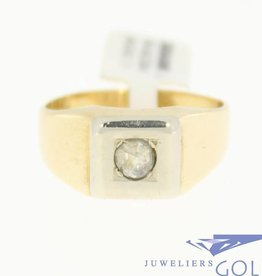 vintage 14k gouden herenring met diamant