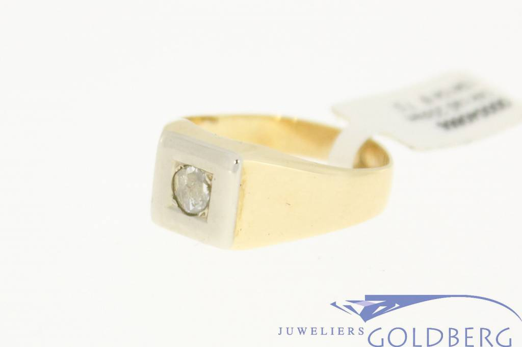 vintage 14k gold mens ring with old cut diamond