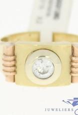 vintage 14k gouden 3-kleuren ring met zirconia