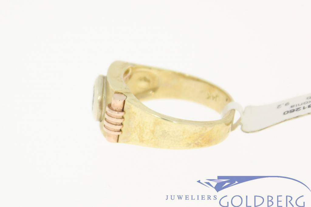 vintage 14k 3-color gold with zirconia