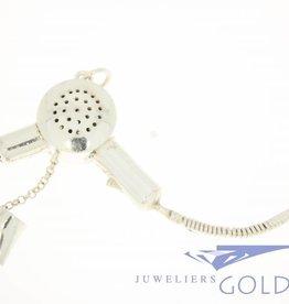 Vintage silver hairdryer pendant