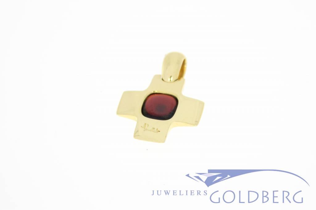 Vintage 18k gouden Pomellato kruis met granaat