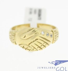 Vintage 14 carat gold Surinam friendship ring with zirconia
