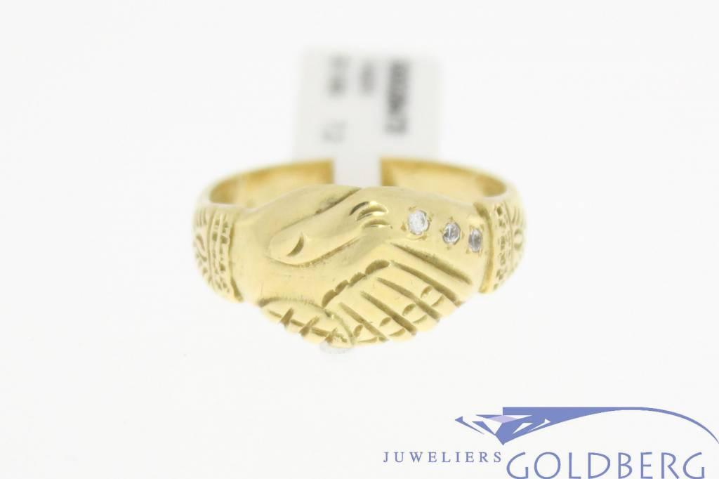 Vintage 14 carat gold Surinam friendship ring with zirconia