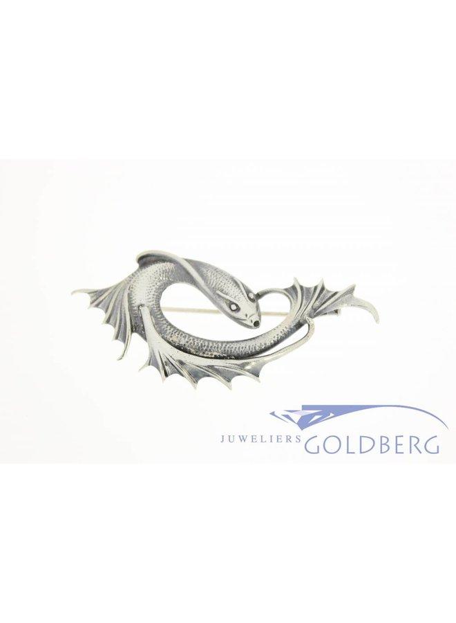 Zilveren vis broche jaren '30