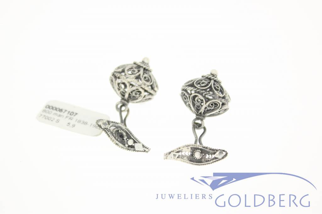 Antique/Vintage French silver filigree cufflinks