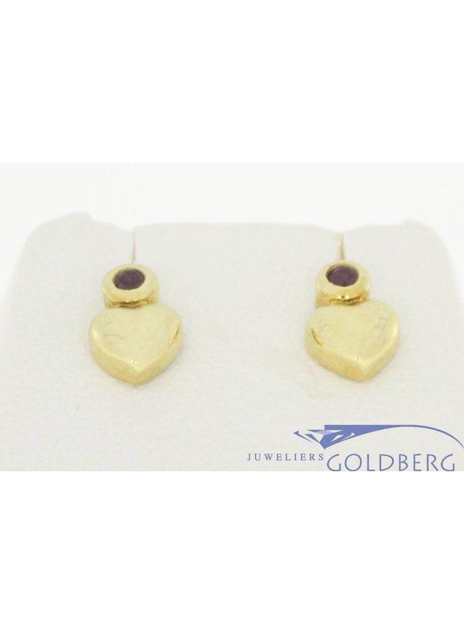 Vintage 14k gouden oorstekers met hartje