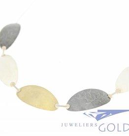 Silver necklace handmade tricolor
