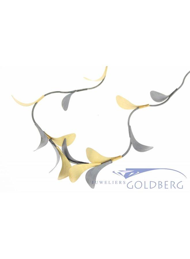 Silver necklace handmade bicolor