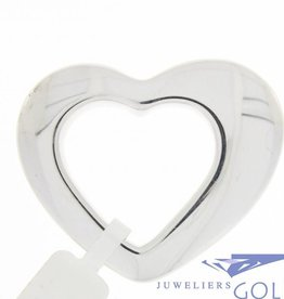 Large vintage 14 carat white gold asymmetric open heart-shaped pendant