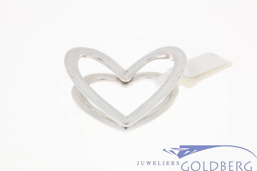 Grote vintage 14k witgouden hanger dubbel hart