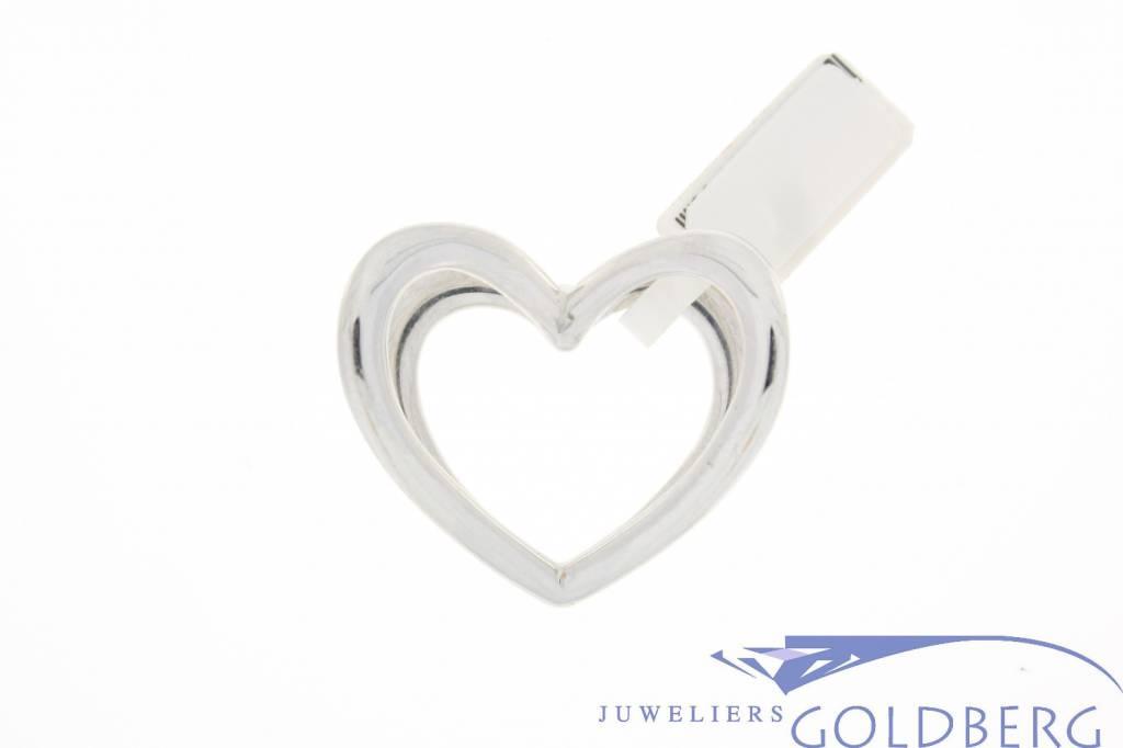 Vintage 14 carat white gold double heart pendant