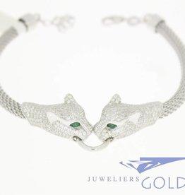 Zilveren panter armband met zirconia's