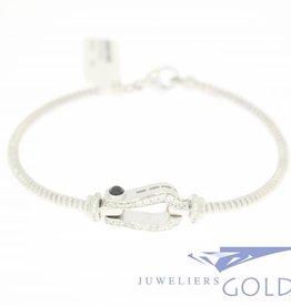 Silver bracelet/bangle with zirconia's
