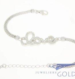 "Silver ""love"" bracelet with zirconia's"