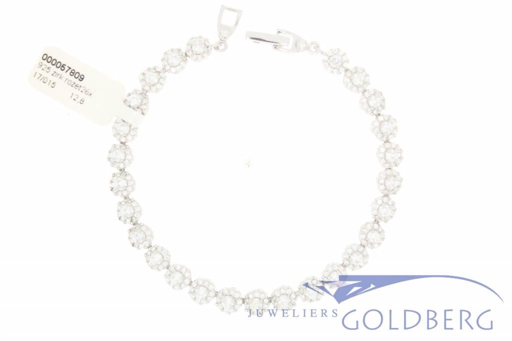 """silver """"Tennis"""" bracelet rosette style"""