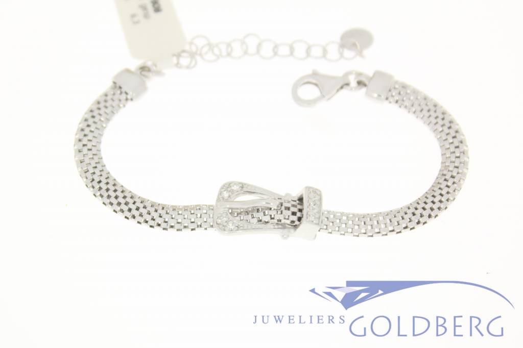 """Silver bracelet with """"decorative buckle"""" and zirconia's"""